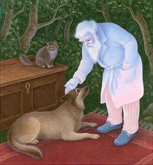 Grandfather-Twilight-petting-dog